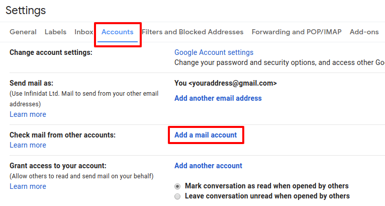 Screenshot - add POP3 email account